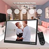 Andoer 13inch LED Digital Photo Frame 1280 800 Resolution Support 1080P Video Shuffle Play Aluminum Alloy with Remote Control Christmas Birthday Gift (Silver)
