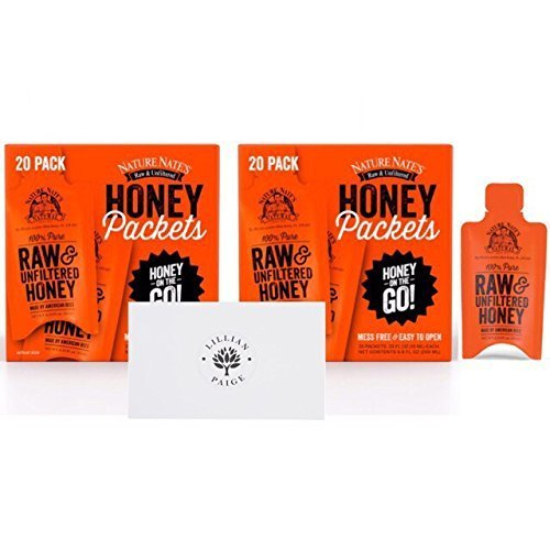 Pure Raw & Unfiltered Honey Packets On the Go Single Servings in Dependable Packaging to Prevent Breakage with LP card Bundle (Original, 40 Packets) ()