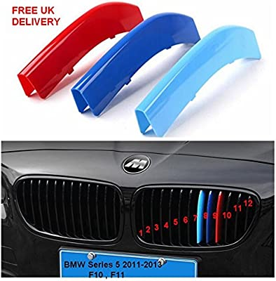 Fits BMW 5 Series F10 F11 2011-2013 Kidney Grille M Sport 3 Colour Cover Stripes
