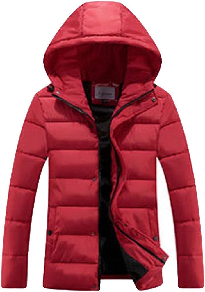 YUTAO Men Fashion Winter Hoodie Solid Zipper Thickened Cotton Outwear Jacket Coat
