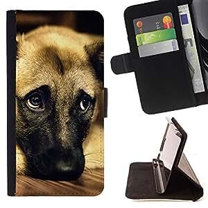 KingStore / Leather Etui en cuir / Samsung Galaxy Core Prime / Perro de pastor alemán de Anatolia mascotas