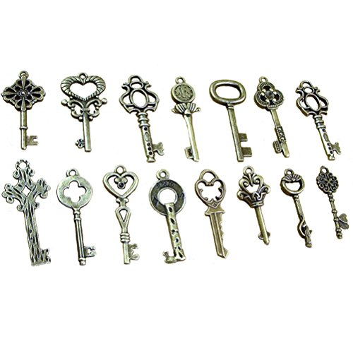 SmiDay Pack of 40 Antique Bronze Skeleton Keys Charm Pendants Set Fancy Heart Bow Charm Pendants Handmade Accessories for DIY Jewelry Making Bronze ()