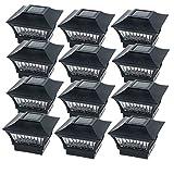 GreenLighting Black Aluminum Solar Post Cap Light 4x4 Wood & 6x6 PVC (12 Pack)