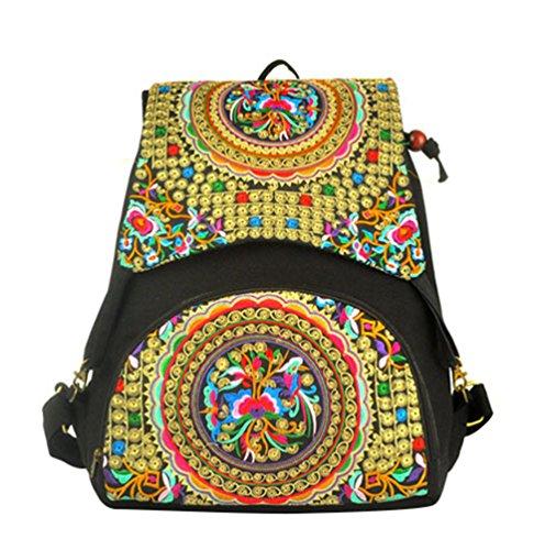 YAANCUN Vintage Mochila Bordado Floral Escolar Bolsa Mujer Mochila Del Estudiante Backpack Bolsa de Viaje Comme l'image#3