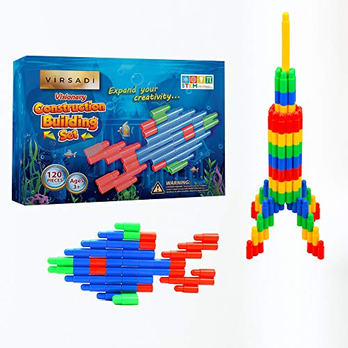 Virsadi Stem Educational Toy for Boys & Girls Age 3 4 5 6 7 8 9 10 11 Creative Building kit with 120pc | Construction Engineering Learning Resources for Montessori | Best Toy Gift for Kids & Family