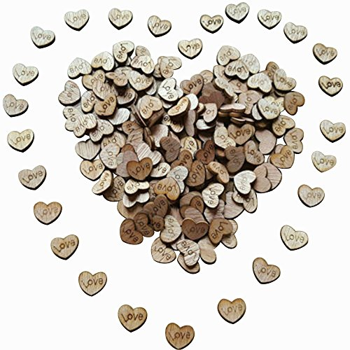 Wedding table decorations amazon rienar 100pcs rustic wooden love heart wedding table scatter decoration crafts junglespirit Images