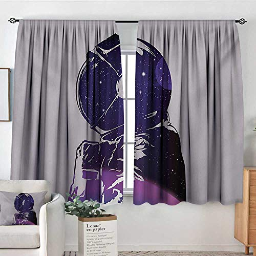 Mozenou Outer Space Room Darkening Curtains Exposure of Cosmonaut Star Clusters Celestial Cosmic Body Side Graphic Design Customized Curtains 55