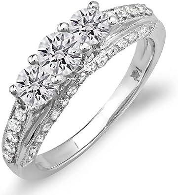 DazzlingRock - Anillo de compromiso de oro blanco de 14 quilates con diamantes redondos para novia (1,25 quilates, H-J), color claro.