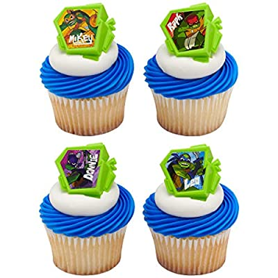 24 Rise of The Teenage Mutant Ninja Turtles TMNT Cupcake Rings Party Supplies: Grocery & Gourmet Food