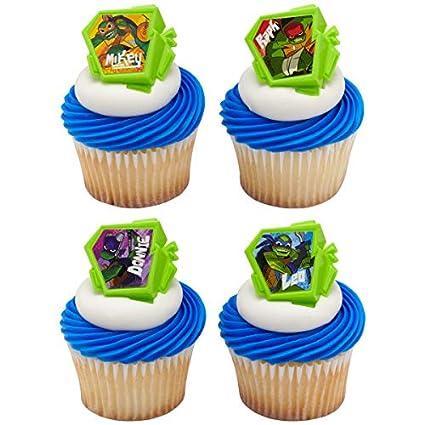 Birthday Party Favors DecoPac 24 Teenage Ninja Turtles Cupcake Ring Toppers