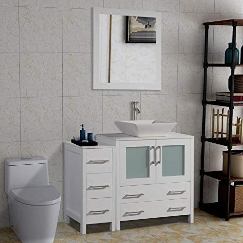 Vanity Art 42 inch Single Sink Bathroom Vanity Set with Compact 2 Door, 5 Drawer – Slim and Modern – White Quartz Top Bathroom Cabinet Free Mirror White – VA3130-42