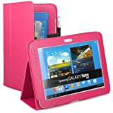 KAYSCASE FlipStand Case Cover for Samsung Galaxy Note 10.1 Inch Tablet N8000 N8010 (Hot Pink) with Built-in Stand, Charger and Infrared Openning and Stylus Loop