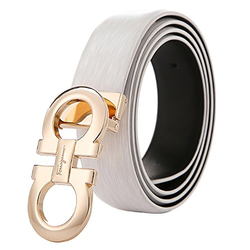 Belts for Men Leather Dress Belt with Metal Smooth Buckle (Waist Size: Less 35'', White Gold)