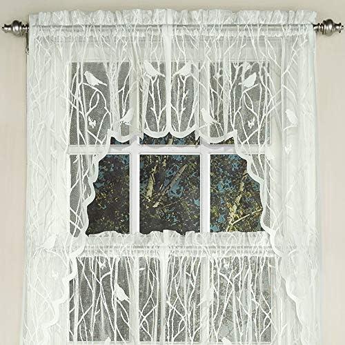 bed bath n more Ivory Knit Lace Bird Motif Window Treatments 24 inch