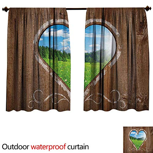 OuthouseAnti-waterHeart Window View from Wooden Rustic Farm Barn Shed with Chalk Art Image W96 x L72(245cm x 183cm) Sun Block Outdoor Curtain Brown Blue and Green ()