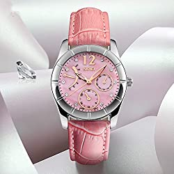 J.Market Womens Quartz Watch 50 Meters Waterproof Quartz Fashionable Watch with Genuine Leather Band (Pink)
