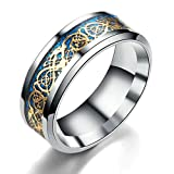 fashionlife2018 Handsome Mens Ring 8mm Celtic Dragon Rings for Men Stainless Steel Wedding Ring Set Gift for Him Ring Size 6-12, Navy