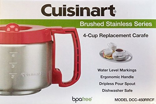 Cuisinart DCC-450RRCF 4-Cup Replacement Carafe, Red (RED) ()