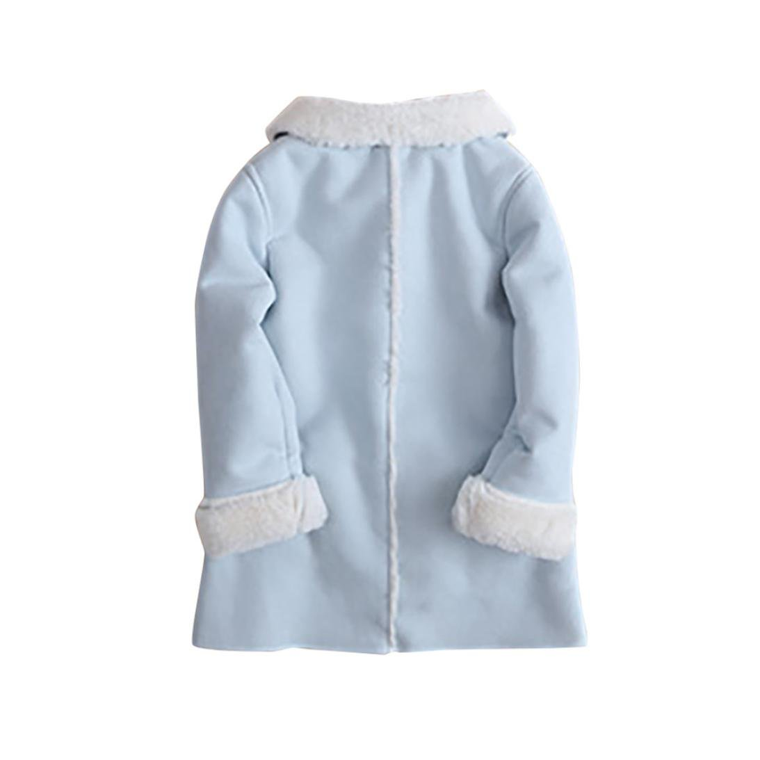 Franterd Baby Girls Winter Jacket Fur Collar Solid Warm Winter Thickening Fur Inside Coats (Blue, 3T) by Franterd (Image #5)