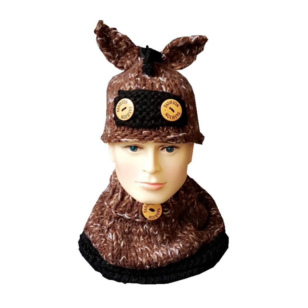 BESTOYARD Cute Donkey Scarf Hat Set Animals Caps Neck Warmer Wrap Wool Knitted Beanie Scarves for Children Kids (Brown)