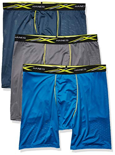 - Hanes Men's X-Temp 4-Way Stretch Mesh Long Leg Boxer Brief 3-Pack, Assorted, 2X Large