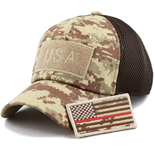 Digi Red Camo - THE HAT DEPOT Low Profile Tactical Operator with USA Flag Patch Buckle Cotton Cap (USA- Desert Digi Camo-Red Line)