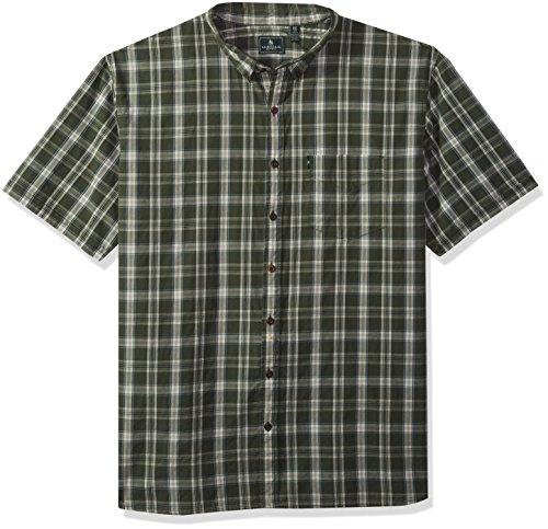 G.H. Bass & Co. Men's Tall Short Sleeve Seersucker Small Plaid Shirt, Black Forest, 3X-Large - Shirt Flannel Plaid Big