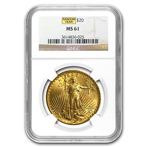 1907 – 1933 $20 Saint-Gaudens Gold Double Eagle MS-61 NGC G$20 MS-61 NGC