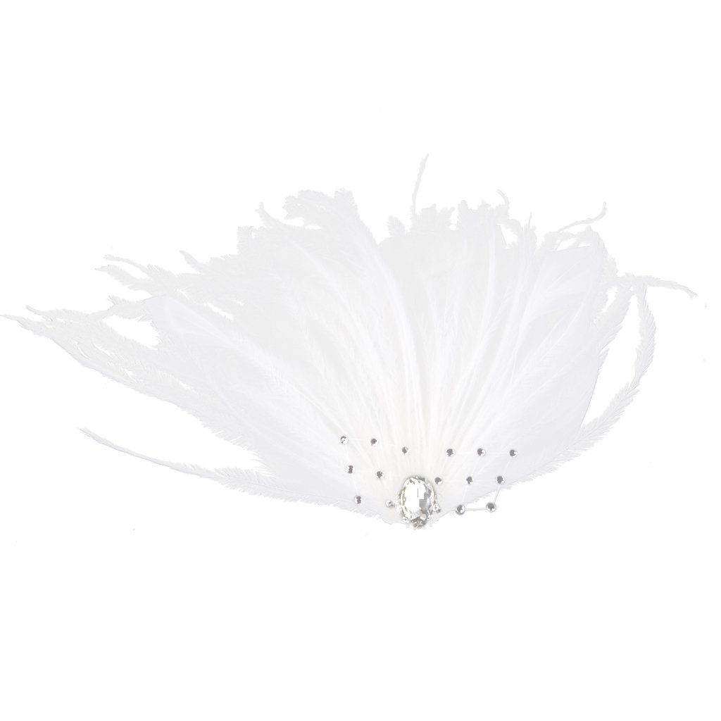 Fashion Women Feather Hair Clip Wedding Party Fascinator Headpiece White Generic