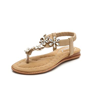 b61bdca31 Amazon.com  Bohemia Flip Flops for Women Summer Beach T-Strap Elastic Flat Sandals  Comfort Walking Shoes  Clothing