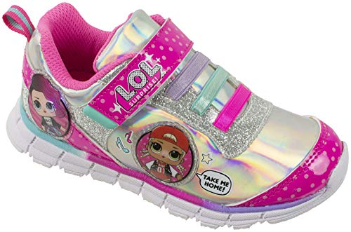 (L.O.L Surprise! Girls Sneakers, Light Up Athletic Sneaker, MC Swag and Rocker, Pink, Girls Size 10)
