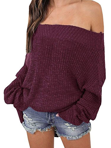 - Women Off The Shoulder Batwing Long Sleeve Knit Loose Oversized Pullover Sweaters
