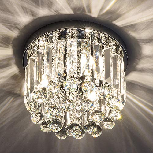 Gris K9 Crystal Chandelier for Bedroom, Modern Ceiling Light, Flush Mount Ceiling Light, W9.8 x H8.07 Chandelier Lighting Fixture for Bedroom, Hallway, 3 Lights Bulbs not Included