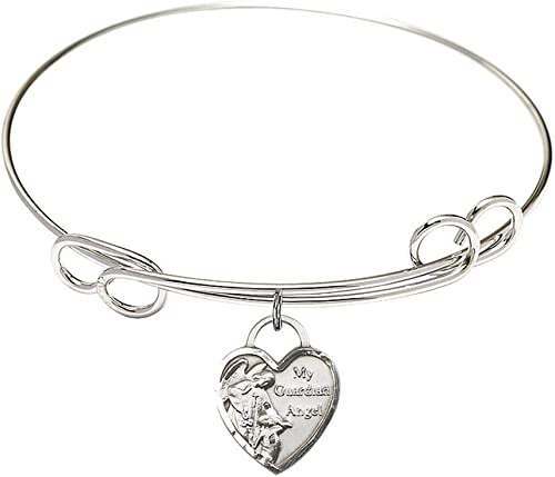 7 1//2 inch Round Double Loop Bangle Bracelet with a Guardian Angel charm.