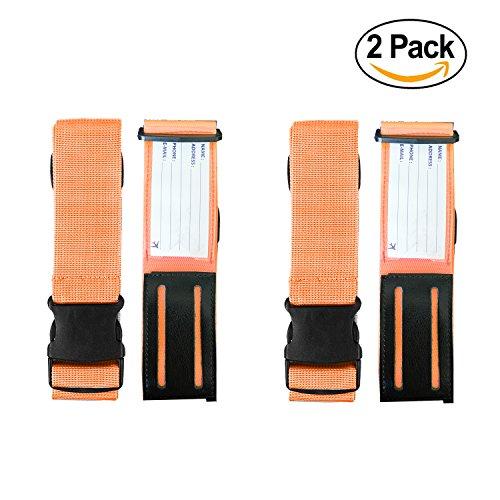 Cross Luggage Straps, Adjustable Suitcase Belt with Luggage Tags Slot by Aurya (Orange 2 (Leather Nylon Luggage Set)