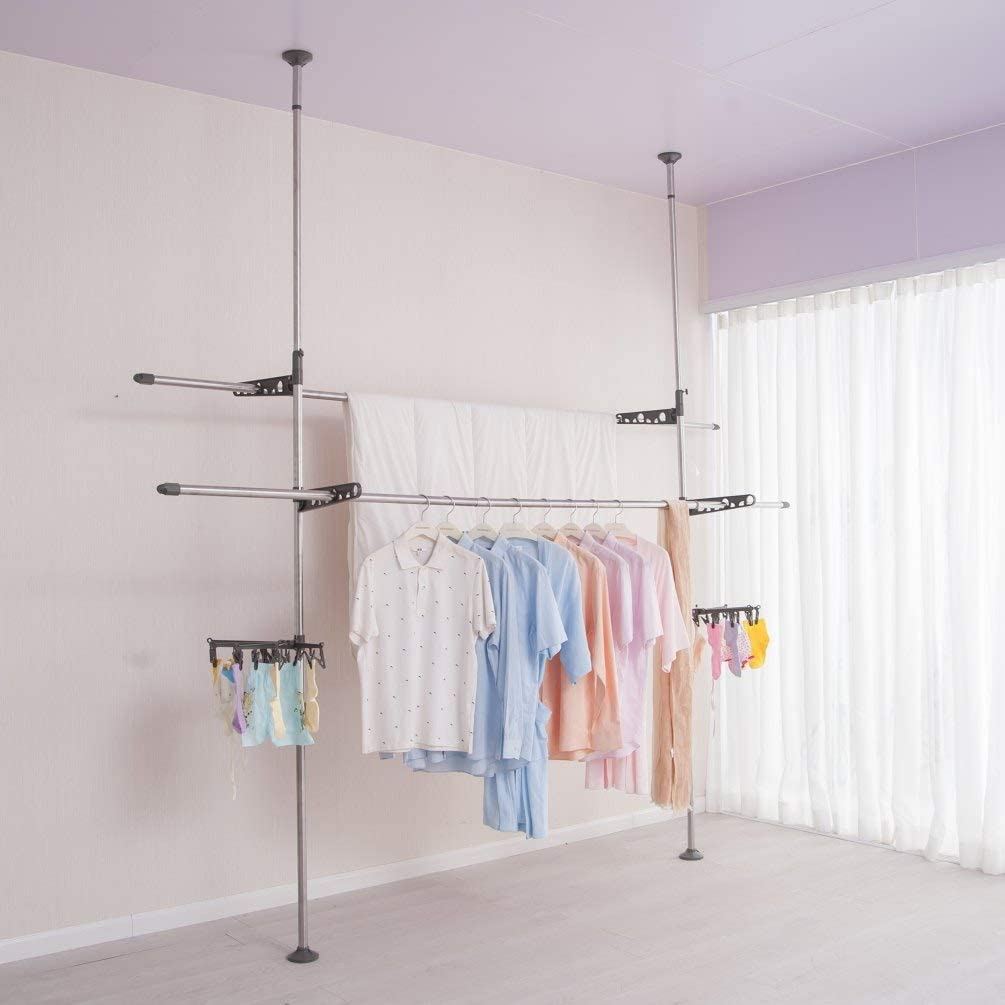 BAOYOUNI Double Pole Adjustable Laundry Clothes Drying Rack Standing Garment Storage Organizer Heavy Duty Space Saver DIY Pants Hanger Rod Rail Floor to Ceiling, Height 64.96'' to 98.42'' - Grey