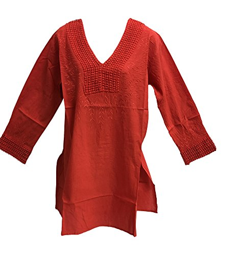 Yoga Trendz Women's Indian Cotton V-Neck Long Sleeve Embroidered Long Kurti Tunic Blouse (One Size Plus, Coral) by Yoga Trendz