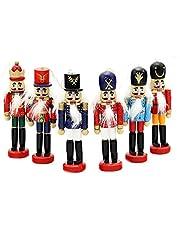 6 PCS Per Set Christmas Decorations Nutcrackers Wooden Soldier Puppet Anvor® 12cm Wood Novelty Decorative Ornament Home Decor Gifts Presant Tree Pendant