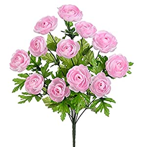 "SilksAreForever 17.5"" Silk Ranunculus Flower Bush -Pink (Pack of 12) 48"