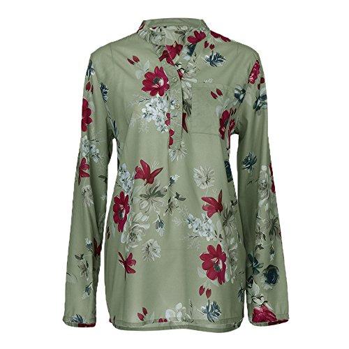 De Mode Top Bouton Mousseline Mousseline vert Shirt VJGOAL De T Blouse Casual Femmes Floral X Imprim Top Soie en Hem Soie en IrrGuliRe SnvqnptfY