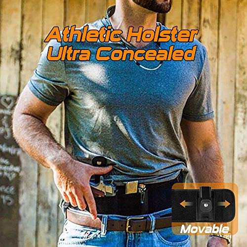 SUFEINI Belly Band Holsters Concealed Carry -【2019 New Upgrade Movable Mag Pouch】 Gun Holster Belt for Women & Man Running Fits for Glock, Sig Sauer, Beretta, S&W M&P, Ruger, Revolver (Best Concealed Carry Pistol 2019)
