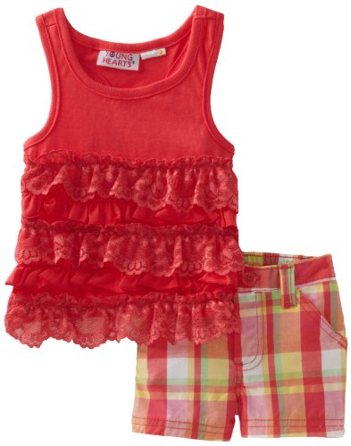 Young Hearts Baby Girls' Knit Ruffle Top With Plaid Short Set