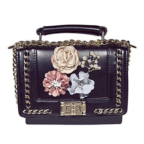Purse Shoulder Silk Bag Clutch Crossbody Flower Black Women's QZUnique Handbag Summer YAZqRAzw