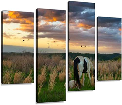 Wild mare grazing as colt Sits by Canvas Wall Art Hanging Paintings Modern Artwork Abstract Picture Prints Home Decoration Gift Unique Designed Framed 4 Panel