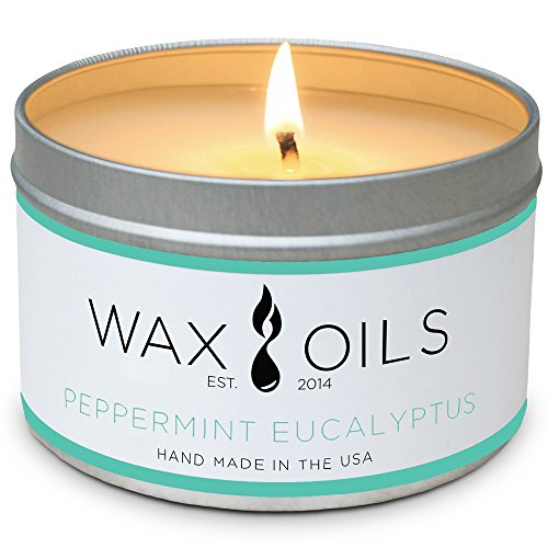 (Wax and Oils Soy Wax Aromatherapy Scented Candles, Peppermint Eucalyptus, 8 oz)