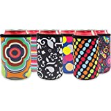 funny beer cooler - Beer Can Cooler Sleeve Set of 6 Fun Trendy Design 4mm Neoprene Sleeve Fully Stitched Insulated Beer/Soda Can Covers