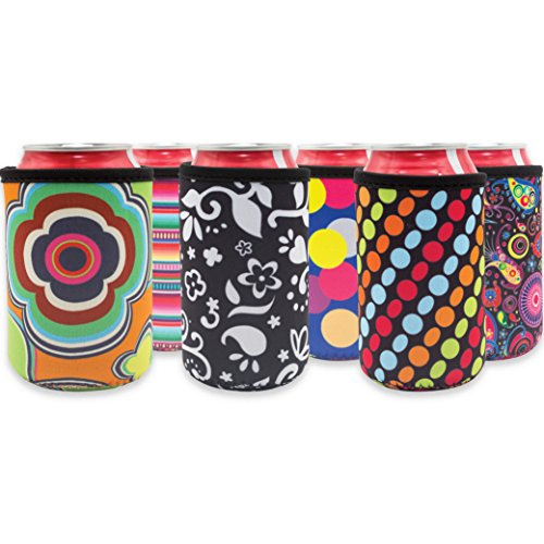 Beer Can Cooler Sleeve Set of 6 Fun Trendy Design 4mm Neoprene Sleeve Fully Stitched Insulated Beer/Soda Can Covers ()