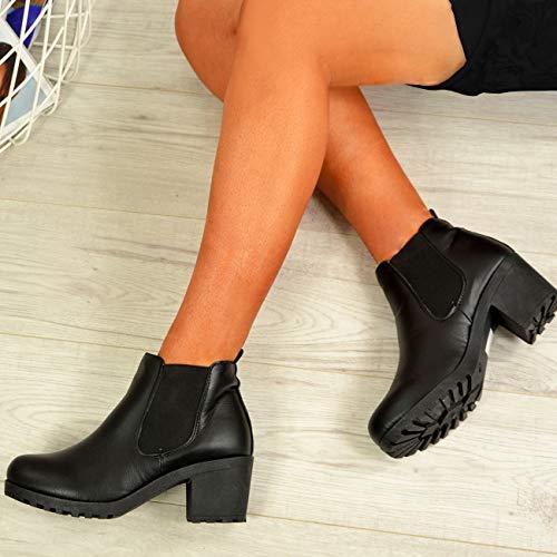 Chelsea Cucu Boots Ladies Heel Biker Fashion Black Shoes On Pu Ankle Block Womens Slip Sizes TrtrqH