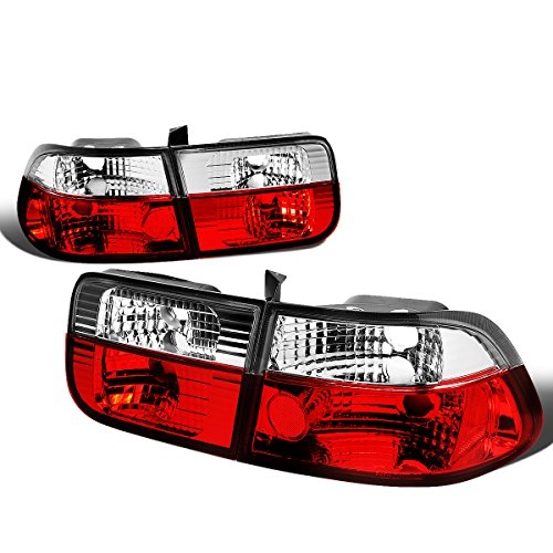 For 1996-2000 Honda Civic 2Dr Coupe Pair Red/Clear Lens Tail Light Brake/Reverse Lamps - 2dr Left Tail Lamp