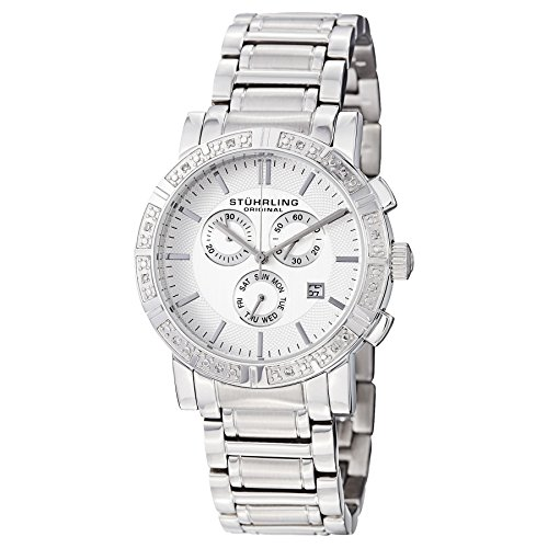 Stuhrling Original Men's 315G.33112 Symphony Regent Swiss Chronograph Genuine Diamond Silver Dial Watch